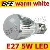 4pcs/Lot E27 5 LED 5W Warm White Bubble Ball Globe Light Bulbs LED Lamps Bright Free Shipping Hot Wholesale