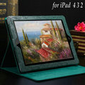 Green Pattern PU Leather case for ipad 3 2 4 New Luxury Red Pink Black Brown with Flip Stand, Drop Ship