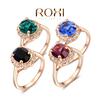 ROXI Brand Black/Blue/Green/Purple Crystal Big Rings For Women Gold Plated 18K Ring Fashion Jewelry Nickel Free 2010012325