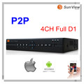Free shipping SunView SV6004 P2P H.264 4ch DVR video recorder for CCTV camera support mobile view, full D1 DVR