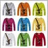 New 2014 long sleeve t-shirts, cotton children t shirts, cute giraffe cartoon t-shirt, candy color bottoming t shirt, nova kids