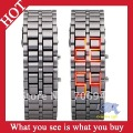 Free Shipping 1pc Men LED Watch Iron Samurai Metal Bracelet Watches -- WH12 Wholesale & Retail