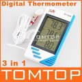 3 in 1 Digital Temperature Humidity Tester Clock Hygrometer Thermometer,freeshipping, dropshipping