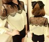 Free Shipping autumn lady small long sleeve chiffon blouse,women black lace shirt 6747