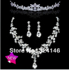 Own factory made high quality water drop crystal bridal jewelry sets shiny crystal wedding jewelry sets wholesale
