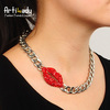 Artilady 2013 new red lip necklace silver chain chunky necklace choker necklaces for women fashion brand jewelry free shipping