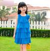 High Quality  Summer Baby Girls Chiffon Flower Tutu Princess Sleeveless Knee-Length Dresses  Blue/Yellow/Red 3~12 FreeShipping