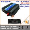 600W 22-60VDC 90-140VAC wide DC input grid tie inverter suitable for 30V or 36V solar power system or wind system