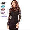 2014 Fashion Sexy Long Sleeve Open Back Lace Dress For Women,Summer Women's Clothing Vestido Black