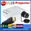 Freeshipping By HK POST Genuine UC28 Protable Pocket Mini Game Digital LED HDMI Video Projectors with HDMI, VGA, AV, USB, SD Card