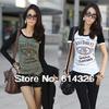 Women T-Shirt 2014 New Fashion Print Letter Cotton T-shirts, Ladies' Elegant Plus Size T shirt Round Neck Causal Tops