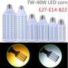 1pcs Super brightness 5W 7W 9W 12W 15W 25W 30W 40W E27 E14 B22 E26 SMD5050 Screw Corn Light 110V-220V lighting angle led bulb