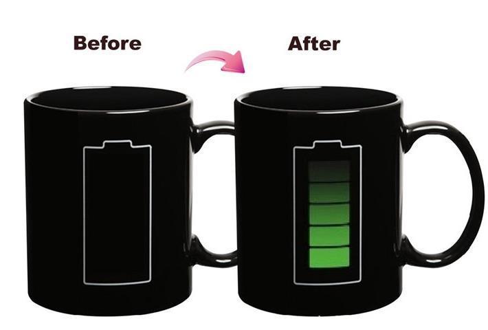 Battery Heat Sensitive Mug Color Changing Coffee Cup- Black