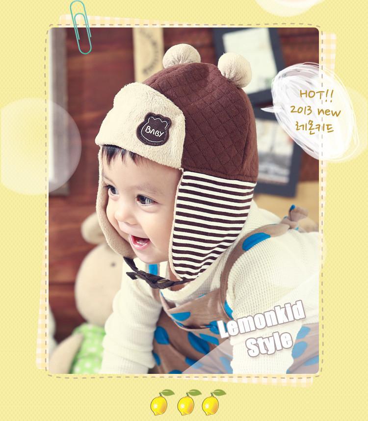 Kids Boy Girl Hats Infant Toddler Adjustable Patchwork Bomber Protect Ears Caps