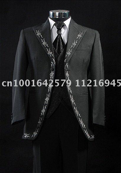 Free Shipping Black Men Wedding Dress Groom Wear Suit Mens Complete Designer Tuxedo